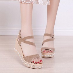 Pearl High Heels Wedge Sandals