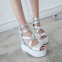 Punk High Heel Wedge Peep Toe Sandals