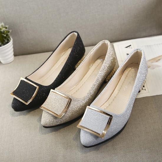 .Low Heeled Comfort Flat Black Shoes