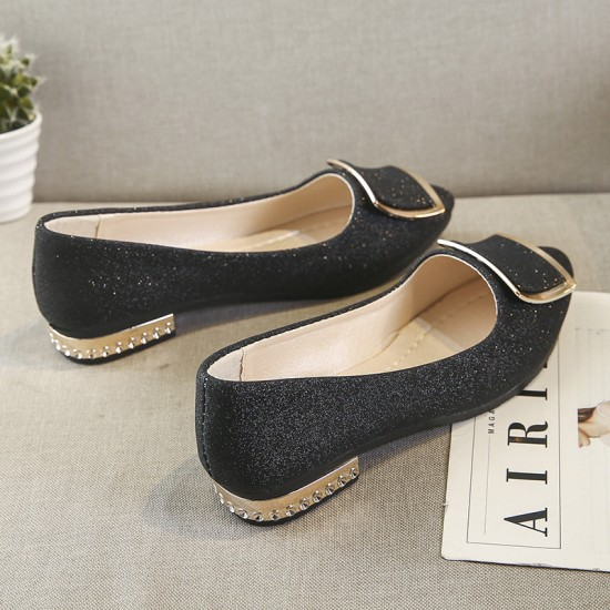 .Low Heeled Comfort Flat Black Shoes