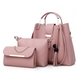Solid Tassel Hanging PU Pink Leather Bag Set