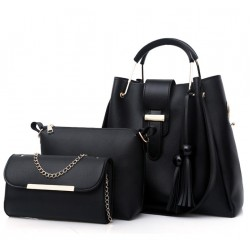 Solid Tassel Hanging PU Black Leather Bag Set