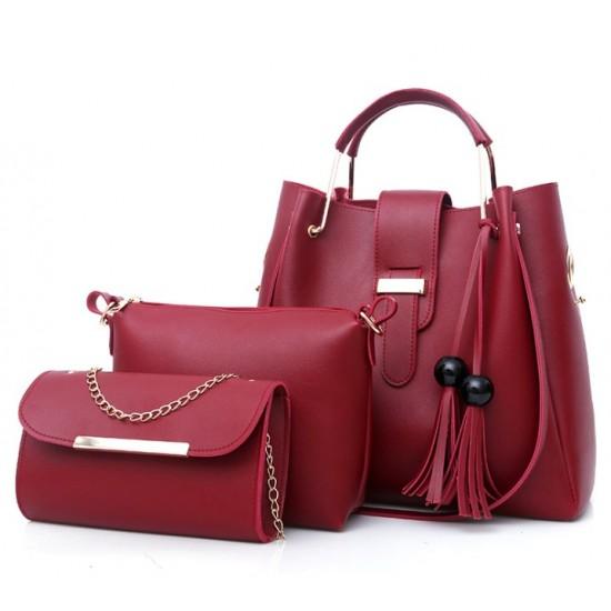 Solid Tassel Hanging PU Red Leather Bag Set