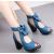 Peep Toe Blue Heel Trendy Sandals