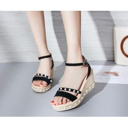 Women Thick Bottom High Heeled Black Wedge Sandals