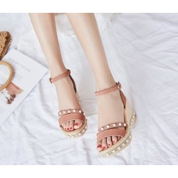Women Thick Bottom High Heeled Pink Wedge Sandals