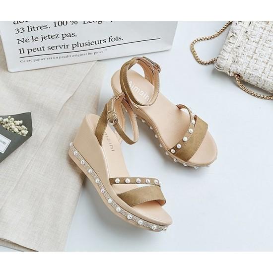 Women Thick Bottom High Heeled Cream Wedge Sandals