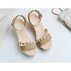 Women Thick Bottom High Heeled Cream Wedge Sandals