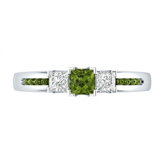 Silver Princess Cut Green & White Sapphire Party Ring