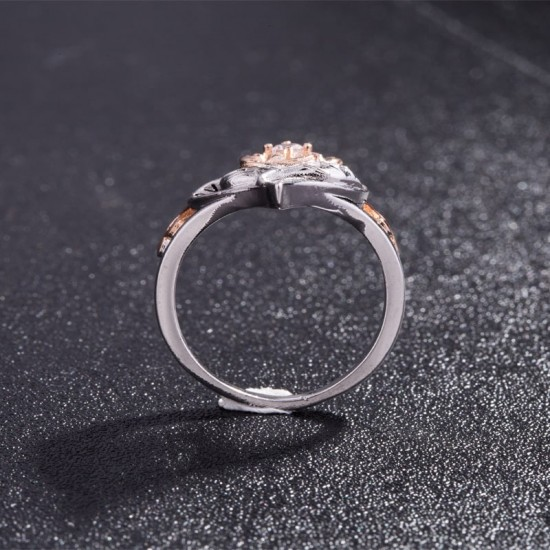 Flower Shaped Gold Plated Heart Ring image