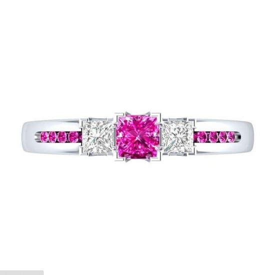 Silver Princess Cut Pink & White Sapphire Party Ring