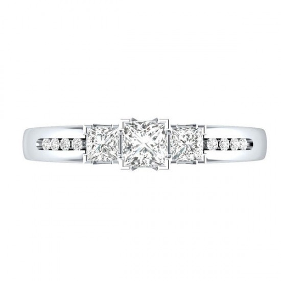 Silver Princess Cut White Sapphire Party Ring