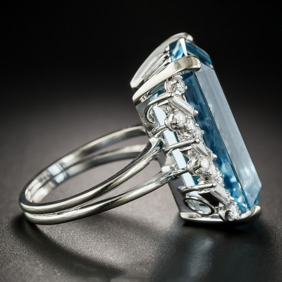 Aquamarine Cocktail With Baguette and Round Diamonds Ring image