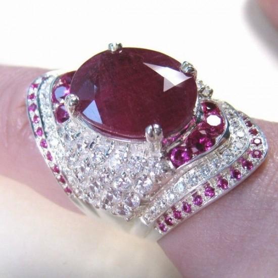 Natural Ruby Gemstone Silver Wedding Engagement Ring