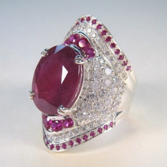Natural Ruby Gemstone Silver Wedding , Engagement Ring image