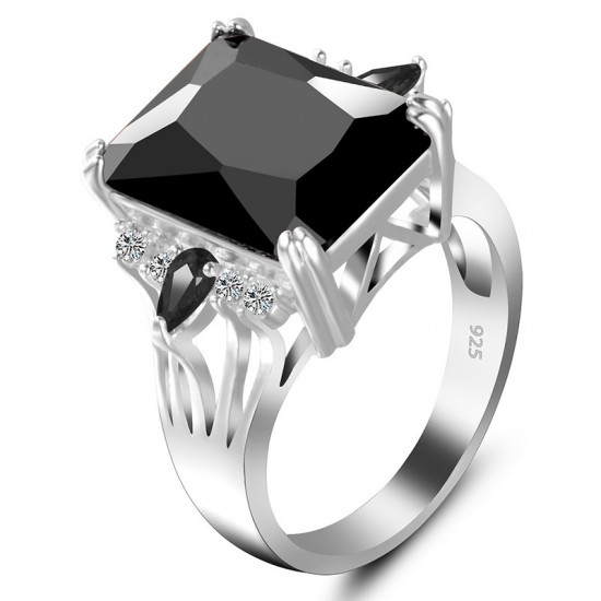New Luxury Style Black Color Radiant Silver Party Ring