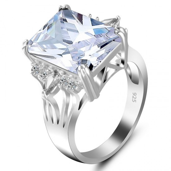 New Luxury Style White Color Radiant Silver Party Ring
