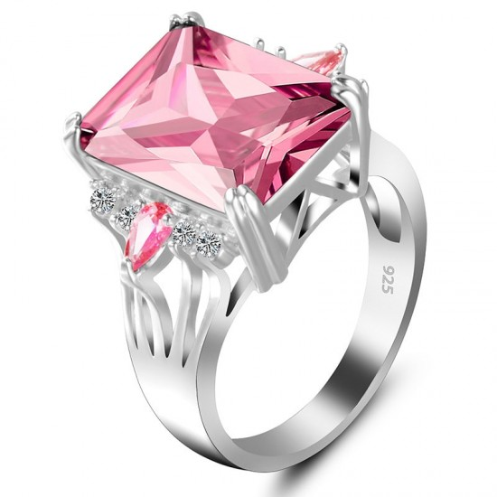 New Luxury Style Pink Color Radiant Silver Party Ring image