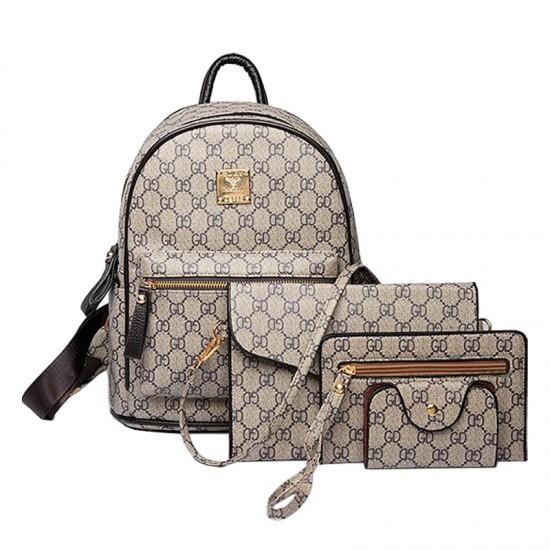 Designer Pattern Grey Four Piece Backpack image