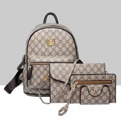 Designer Pattern Grey Four Piece Backpack
