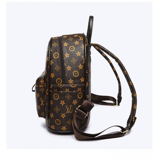 Designer Pattern Brown Four Piece Backpack