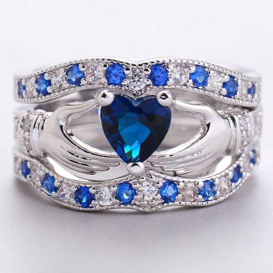 New 3 in 1 Fashion Women's Claddagh Ring Blue image