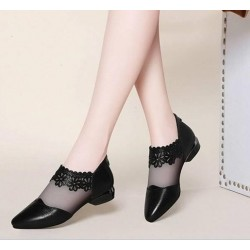 Ladies Round Head Breathable Mesh Lace Mid Heel Shoes