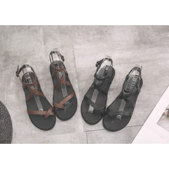 Womam Cross Tied Casual Wear Flat Sandals-Brown