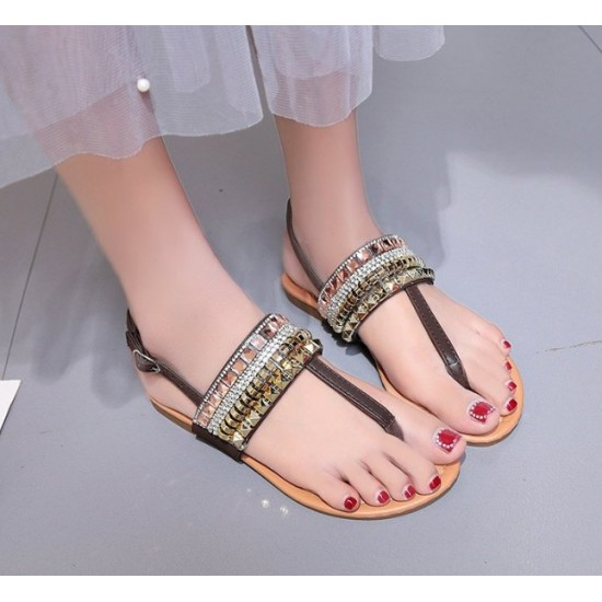 New Rhinestone Flat  Clip Toe Bohemian Sandals-Black