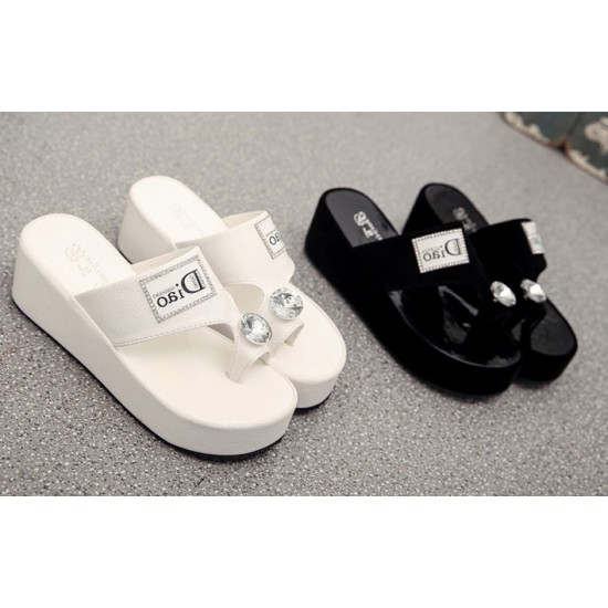 New Fashion Thick bottom Flip flop Slippers-White image