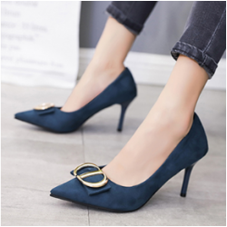 Women Pointed Toe High Heeled Shoes-Blue