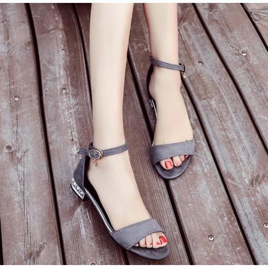 Korean Version Flat Heel Open Toe Sandals-Grey