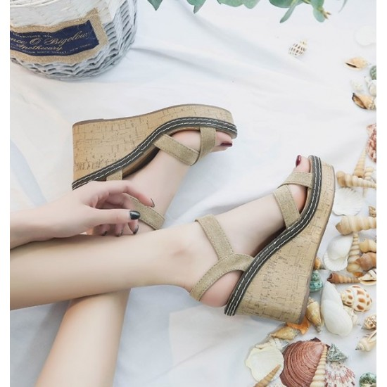 New Cross Straps Sexy High Heeled Wedges Sandals-Brown