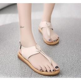New Roman Style Flip Flops Wild Smaet Girl Sandals-Cream