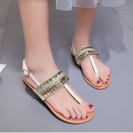 New Rhinestone Flat  Clip Toe Bohemian Sandals-Cream