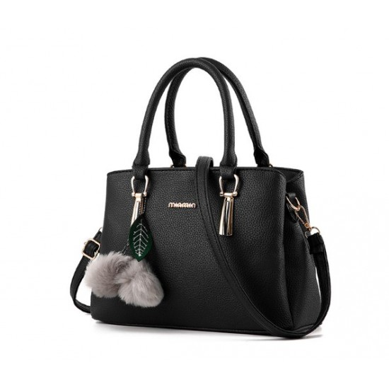 New Lychee Pattren Fashion Simple Shoulder Bag-Black image