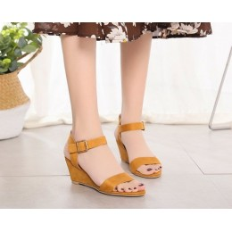 Suede Leather Buckle Strap Short Wedge Sandals-Brown
