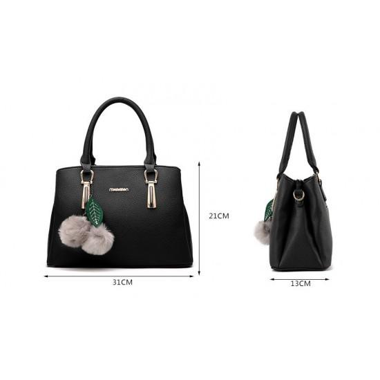 New Lychee Pattren Fashion Simple Shoulder Bag-Grey