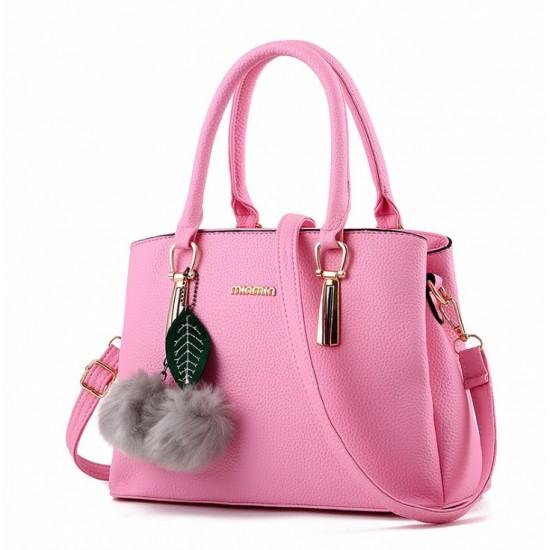 New Lychee Pattren Fashion Simple Shoulder Bag-Pink