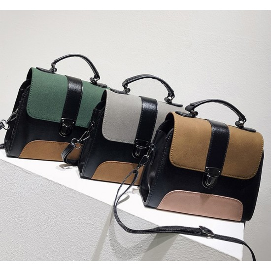 PU Leather Messenger Shoulder Bag-Green image