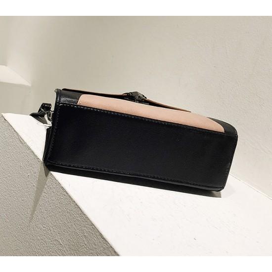PU Leather Messenger Shoulder Bag-Brown