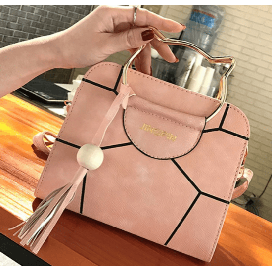 Korean version pu tassel small square bag kitten handbag-Pink