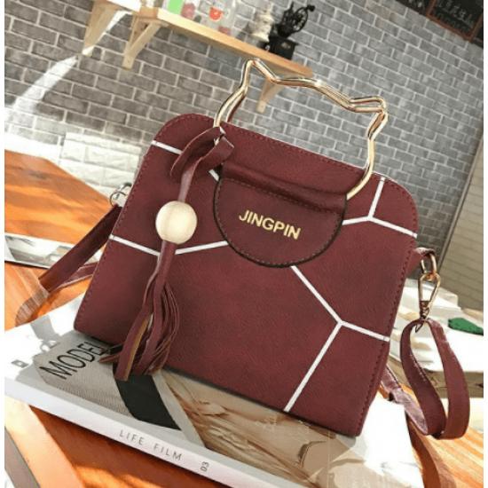 Korean version pu tassel small square bag kitten handbag-Red