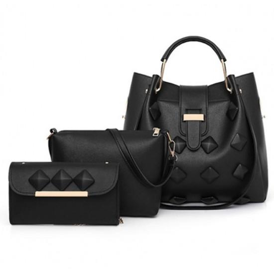 Women New Fashion 3 in 1 Leather Handbag-Black