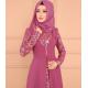Elegant Arabic Style Long Sleeve maxi Abaya-Pink