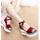Women High Platform Open Toe Wedge Sandals-Red