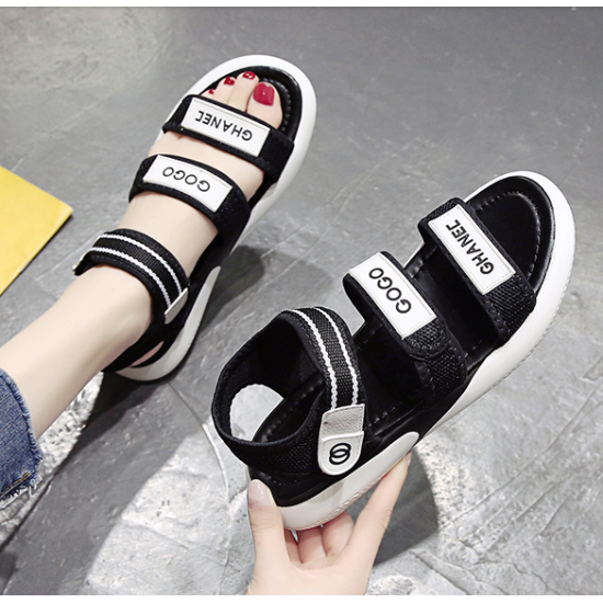 New Velcro Flat Bottom Women Sandals-Black