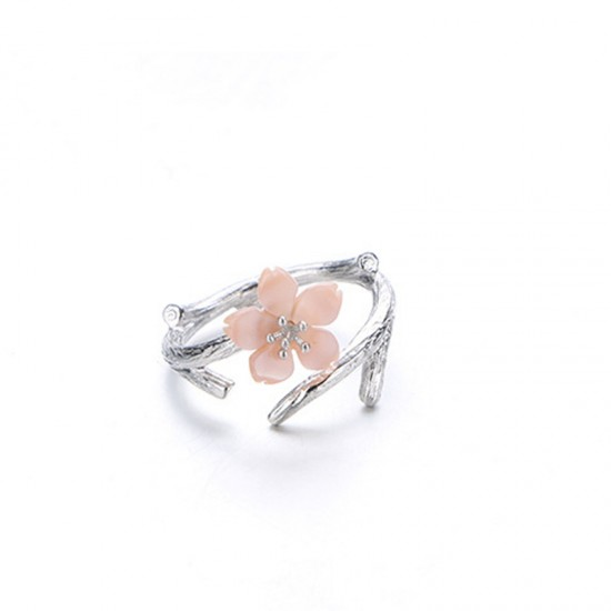 Pink  Color Wind Cherry with White Petals Open Hands Ring