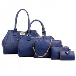 Blue Color Five Piece Crocodile Pattern Women Fashion Handbag Set