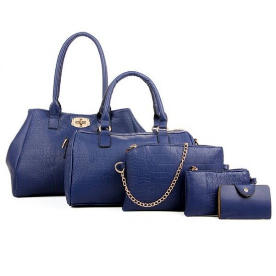 Blue Color Five Piece Crocodile Pattern Women Fashion Handbag Set image